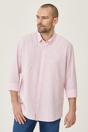 Altınyıldız Classics Erkek Pembe Tailored Slim Fit Dar Kesim Düğmeli Yaka Keten Gömlek 0