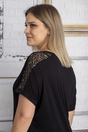 Şans Kadın Siyah Omuzları Tül Payet Detaylı Bluz 65N22861 3