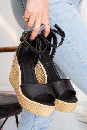 derithy Kadın Siyah Vinle Dolgu Topuklu Ayakkabı lzt0590 2