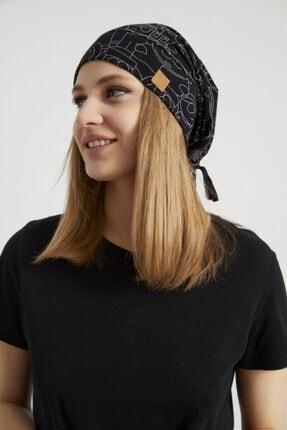 Butikgiz Kadın Siyah, Beyaz Desenli, Ip Detaylı 4 Mevsim Şapka Bere Buff -ultra Yumuşak Doğal Penye Kumaş 0