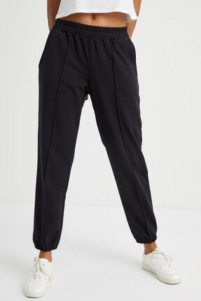 Curly Store Kadın Siyah Dikişli Jogger Pantolon 1