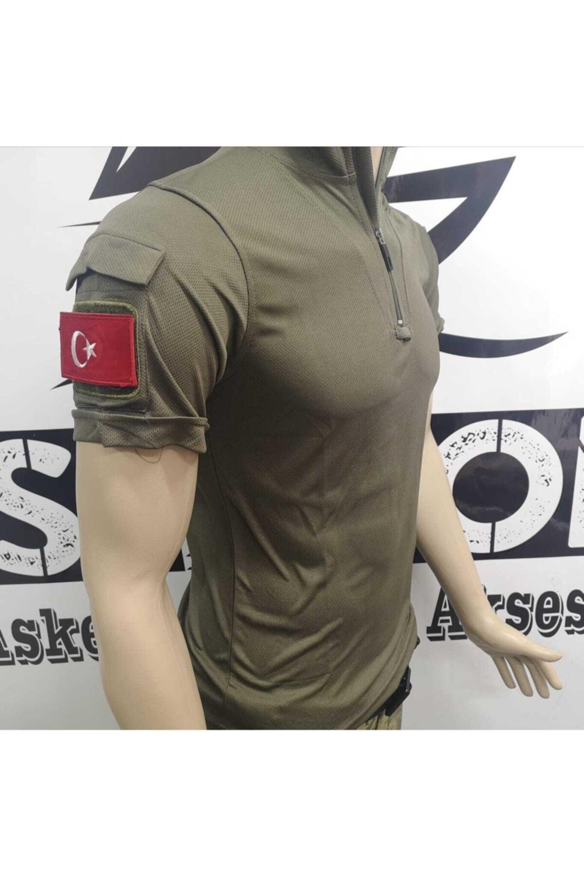 Taktik Pusu Tişörtü Taktik T-shirt Ve Türk Bayrağı Peç