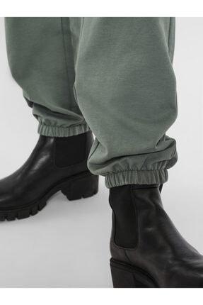 Vero Moda Kadın Yeşil Paçası Lastikli Yüksek Bel  Pantolon 3