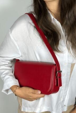 LinaConcept Kadın Kırmızı Kapaklı Baget Çanta 1