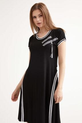 Sementa Kadın Kısa Kol Elbise - Siyah 0