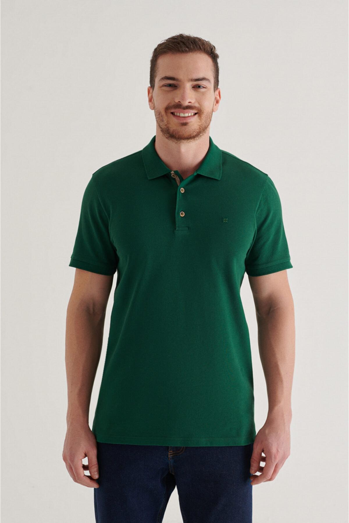Erkek Yeşil Polo Yaka Düz T-shirt A11b1174