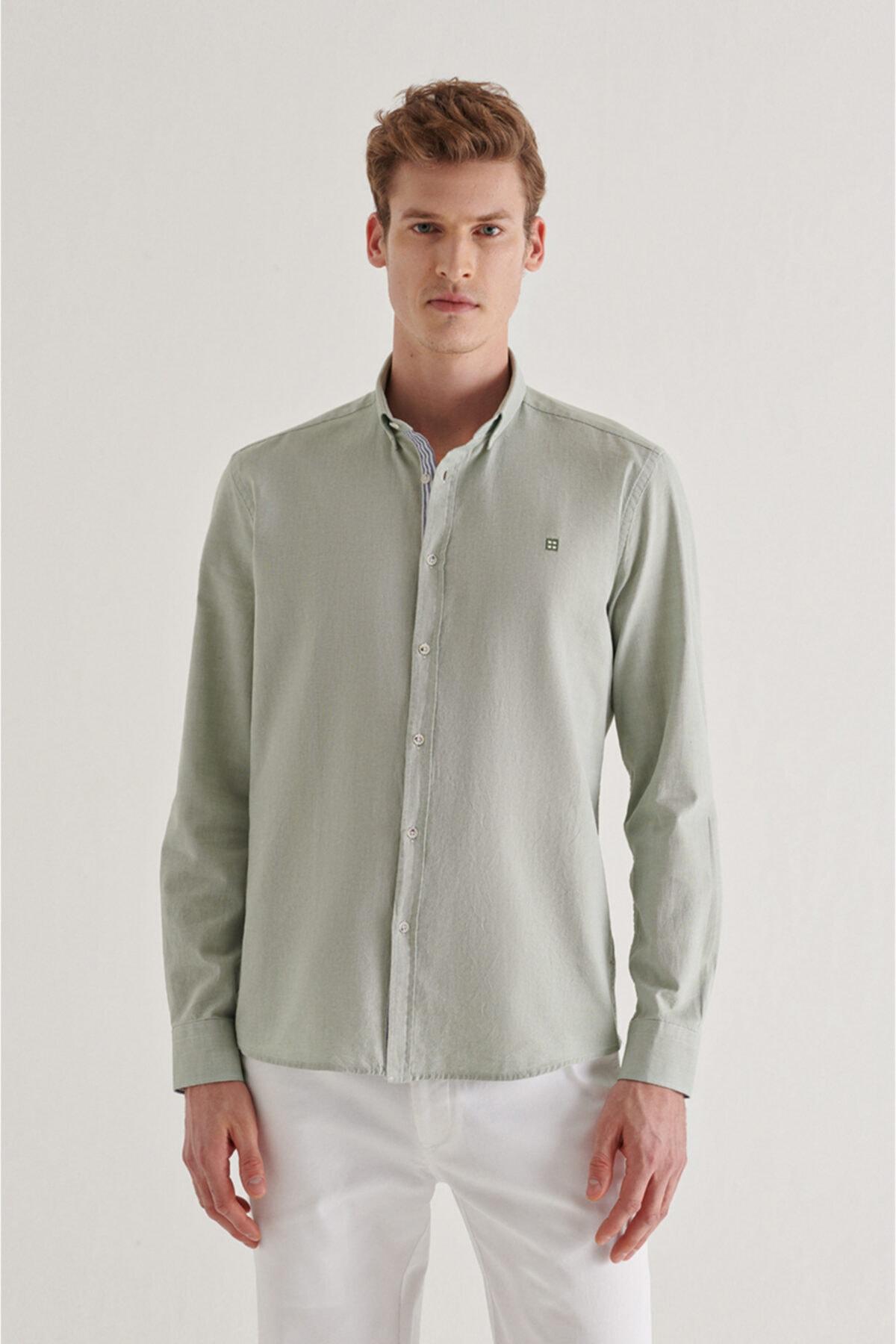 Erkek Haki Düz Düğmeli Yaka Regular Fit Gömlek A11y2026