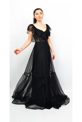 Kadın Yakası Dantel Detaylı Siyah Rengi Tül Abiye AL-0265