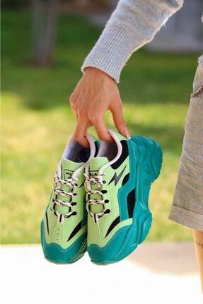 Madam Tarz Kadın Yeşil Siyah Bağlı Kalın Taban Sneaker 4