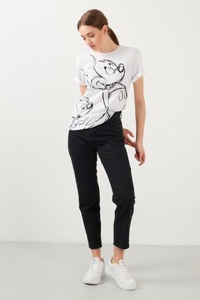 Lela Kadın Beyaz Baskılı Bisiklet Yaka Pamuklu T Shirt Kadın T Shirt 4217404 3