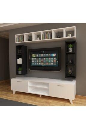 Dekormer Design Tv Ünitesi Dolaplı Siyah Beyaz 180 Cm Ve Kitaplık 3