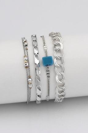 Sortie Aksesuar Kadın Gümüş Mavi Boncuklu Kombin Bileklik 4'lü 004 0