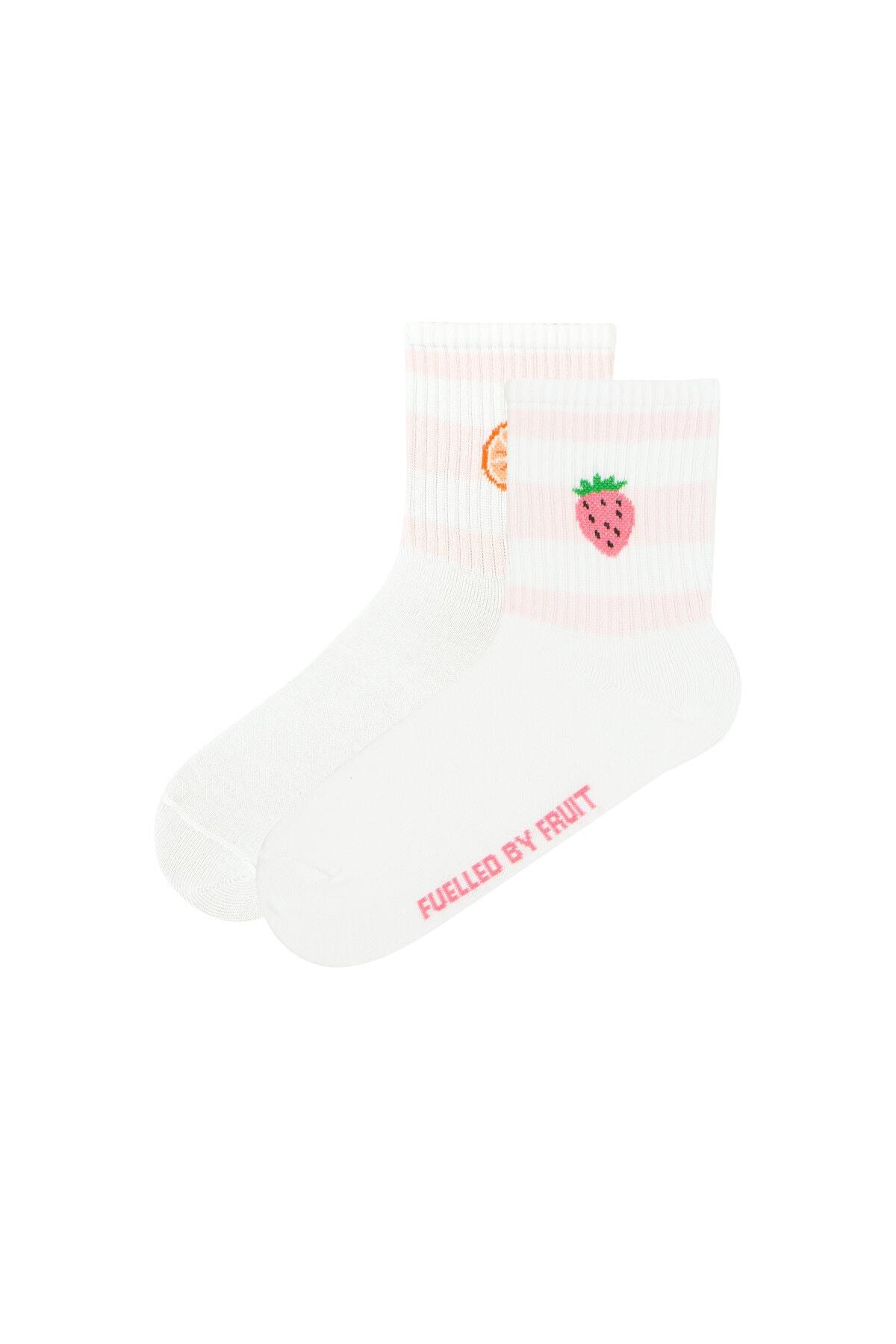 Penti Kadın Beyaz Cool Fruıt Soket Çorap 0
