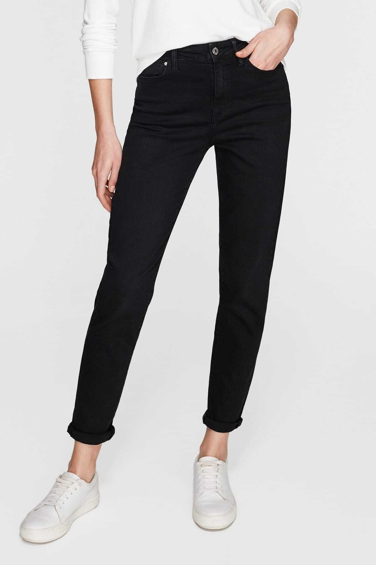 Kadın Siyah Renk Mom Jean Pantolon