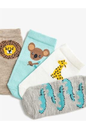Koton Erkek Bebek Ekru Hayvan Desenli Pamuklu Çorap Set 1