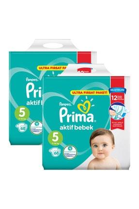 Prima Bebek Bezi Aktif Bebek 5 Beden 136 Adet Ekonomik Ultra Fırsat Paketi 1