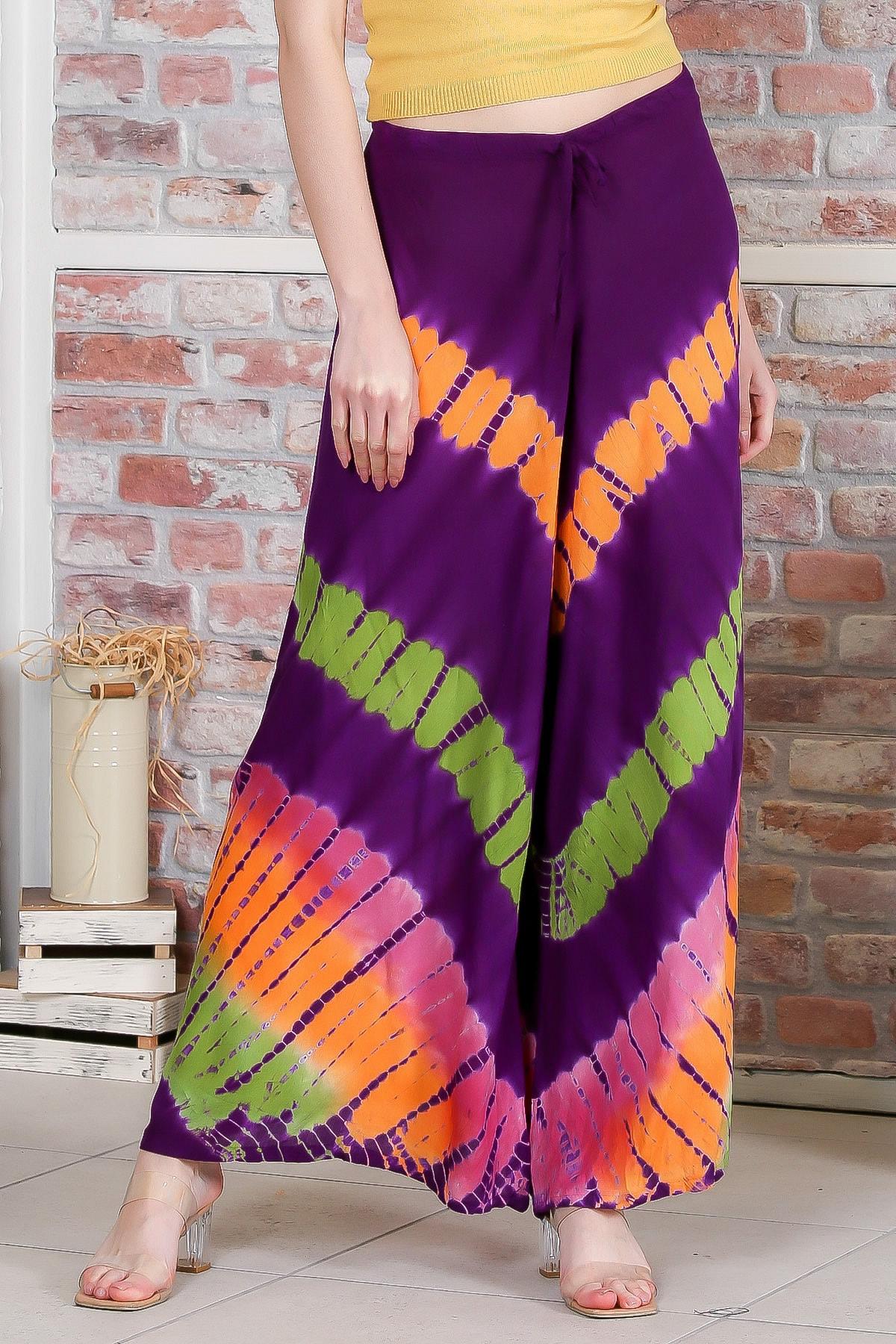 Chiccy Kadın Mor Batik Desenli Bol Paçalı Dokuma Pantolon M10060000PN98897 0