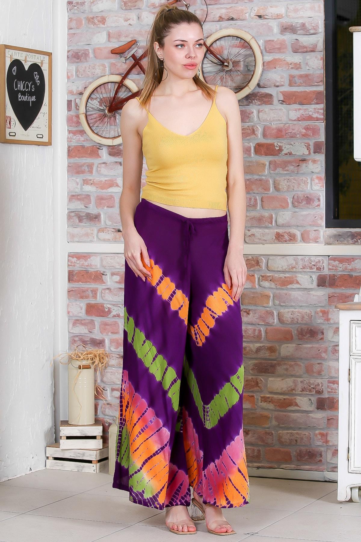 Chiccy Kadın Mor Batik Desenli Bol Paçalı Dokuma Pantolon M10060000PN98897 2