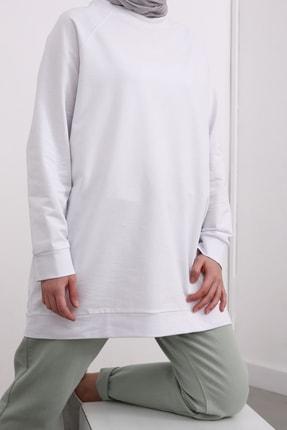 Ekrumoda Kadın Beyaz Reglan Kol Basic Sweat Tunik 4