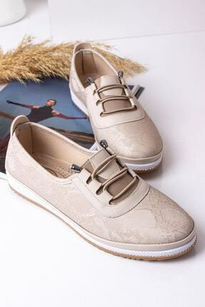 Lal Shoes & Bags Kadın Krem Parlak Ayakkabı 0