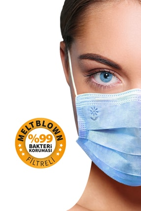 BlueDaisyMask Meltblown Filtreli Cerrahi 3 Katlı Telli Kokusuz Mavi 100'lü Set Maske 0