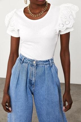 Xena Kadın Beyaz Kolları Güpürlü T-Shirt 1KZK2-11588-01 0