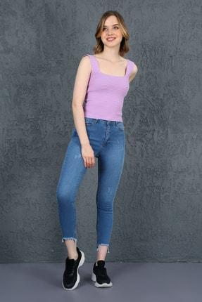 ChiChero Kadın Mavi U Paça Yıkamalı Yüksek Bel Skinny Jeans 0