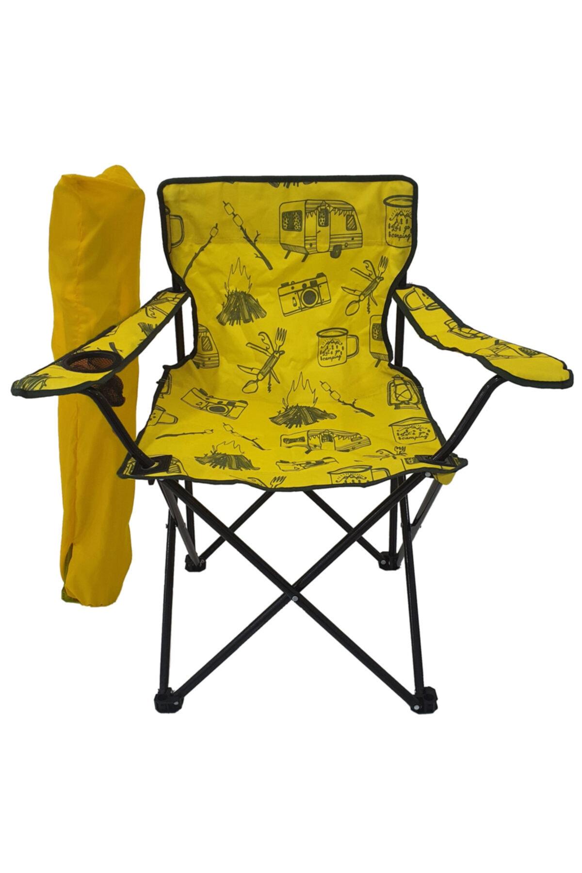 Kamp Sandalyesi Katlanır Sandalye Bahçe Koltuğu Piknik Plaj Balkon Sandalyesi Desenli Sarı