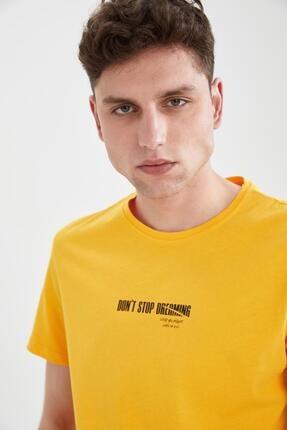 Defacto Erkek Sarı Slim Fit Bisiklet Yaka Baskılı T-Shirt 2