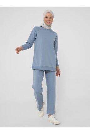 Refka Kadın Mavi Uzun Kollu Basic Eşofman Takımı 2