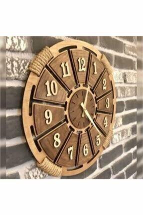 HanemGrup Kahverengi Hasır Detaylı Ahşap Duvar Saati 0