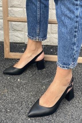 İnan Ayakkabı Sivri Burun Arkası Açık Topuklu Ayakkabı 1