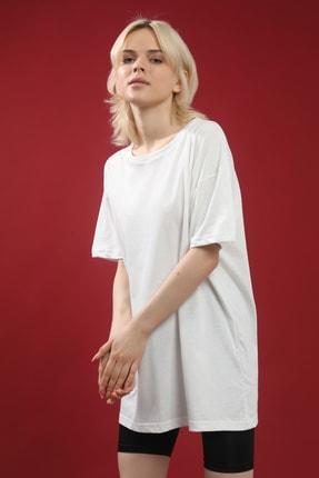 Grenj Fashion Beyaz Pamuk Bisiklet Yaka Oversize Örme Tshirt 1