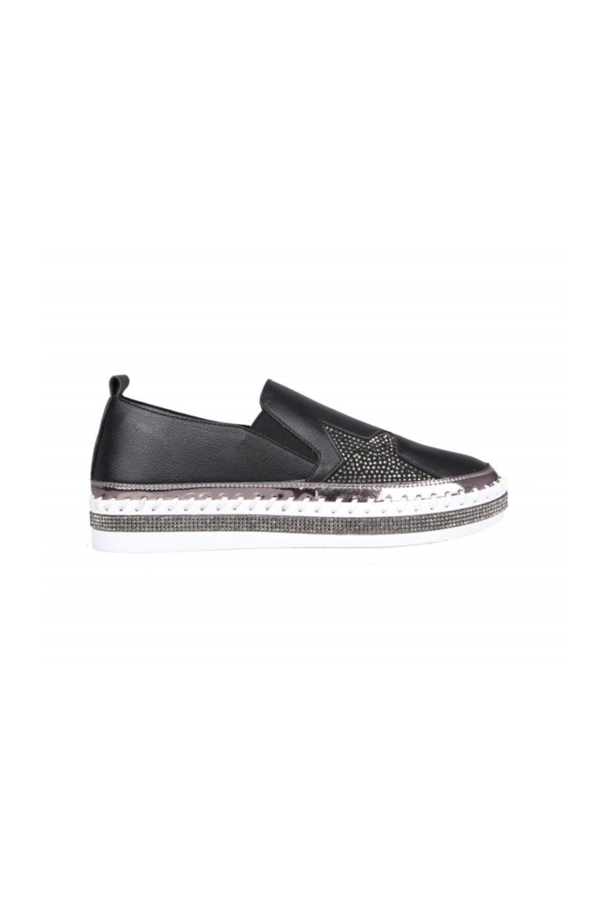 Guja Dolgu Topuk Siyah Kadın Sneakers