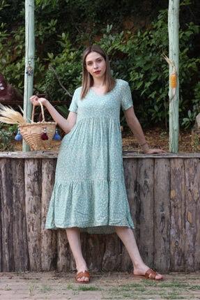 Her Mod'a Bir Moda Kadın Yeşil Papatya Desenli V Yaka Elbise 0