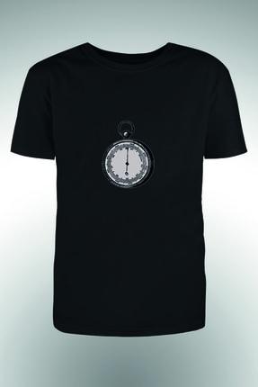 By Okat Erkek Siyah Pusula Baskılı T-Shirt 0