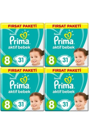 Prima Bebek Bezi 8 Beden-numara 17+ kg 31 Li 4 Paket 124 Adet 0