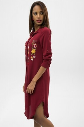 4over4 Kadın Bordo Işlemeli Kısa Gömlek Elbise 1