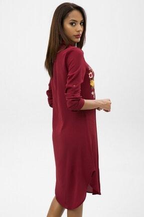 4over4 Kadın Bordo Işlemeli Kısa Gömlek Elbise 2
