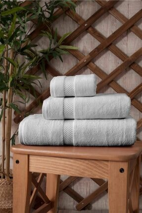 İpekçe Home Ipekçe Pamuklu Kadife 3'lü Banyo Havlu Seti Açık Gri 0