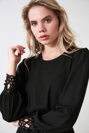 TRENDYOLMİLLA Siyah Güpürlü Elbise TWOAW20EL0587 2