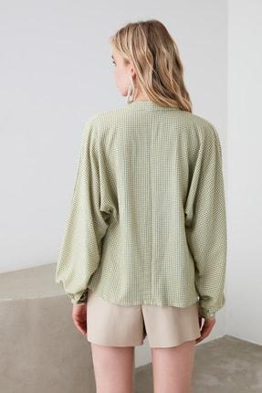 TRENDYOLMİLLA Yeşil Ekoseli Gömlek TWOAW21GO0114 4
