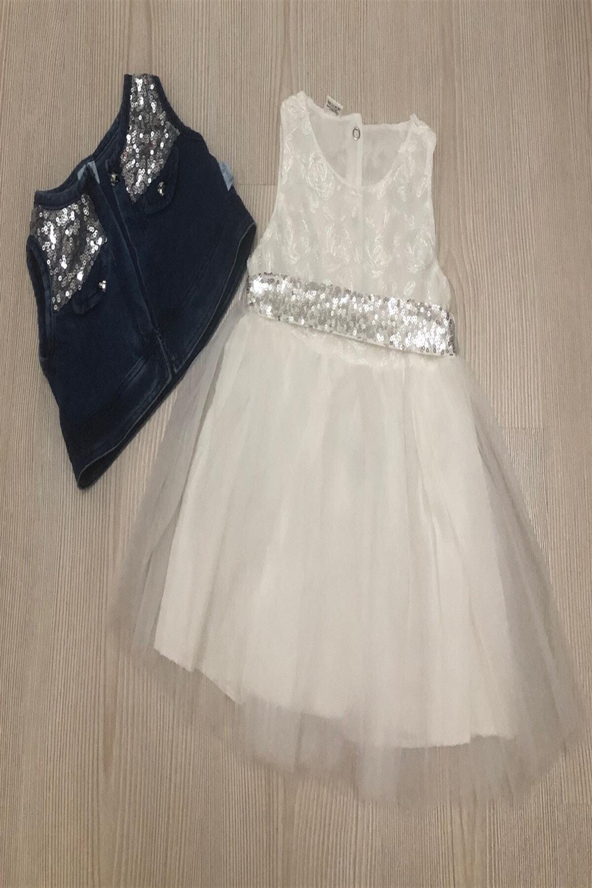 Kız Çocuk Kot Yelekli Elbise