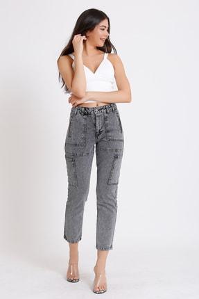 FAF Denim Kadın Gri Yüksek Bel Fermuarlı Mom Jeans 0