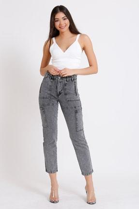 FAF Denim Kadın Gri Yüksek Bel Fermuarlı Mom Jeans 1