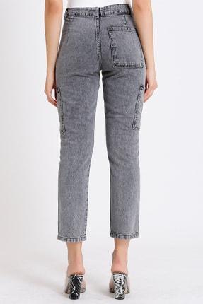 FAF Denim Kadın Gri Yüksek Bel Fermuarlı Mom Jeans 4