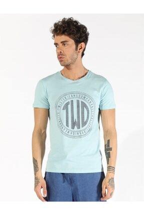 Erkek Su Mavisi Büyük Beden Baskılı T-shirt  1407 Bb resmi