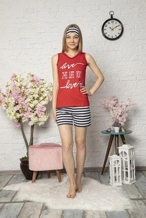 Mirano Kadın Kırmızı Love Baskılı Şortlu Pijama Takım 1