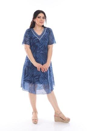 Zaga Büyük Beden Düz Renkli Baskılı Elbise 0