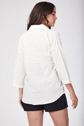 Happiness İst. Kadın Beyaz Cepli Keten Gömlek US00104 1